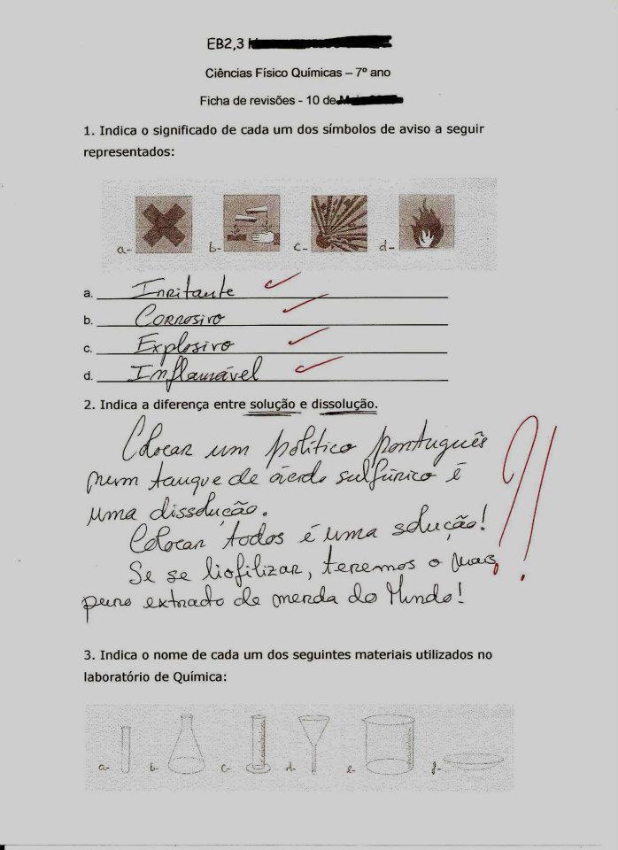 Resposta política num exame de Química