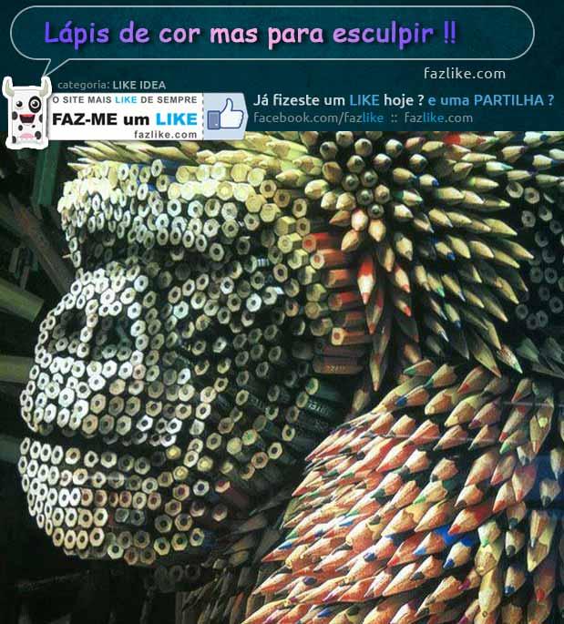 Esculturas com lápis de cor
