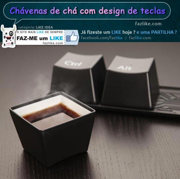 Chávenas de chá com design de teclas