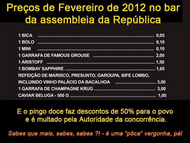 Preços do bar da assembleia da republica