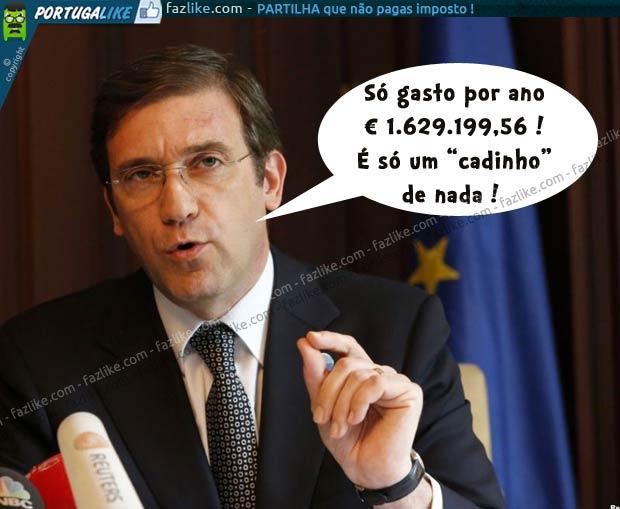 Como Passos Coelho gasta 1.629.199,56 euros por ano